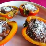 Khaki-Früchte mit Lebkuchen-Füllung